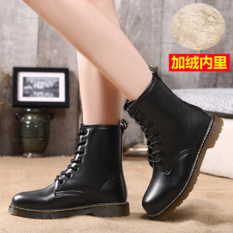 Short Tube lace warm boots leather Women's boots (658 black (Plus velvet))