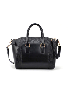 Shoulder Bag Leather Cross Body Bag (Black)