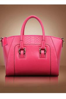 Shoulder Bag Leather Cross Body Bag (Rose Red)