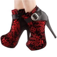 Elegant Red Black The Plum Blossom Buckle Platform Stiletto Ankle Bootie BootLF80869