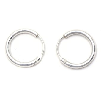 Silverworks E4103 Extra Large Plain Endless Hoop Earrings (Silver)