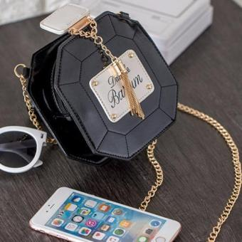 Skadi P-101 Women's Perfume Style Hard Shell Mini Shoulder Chain Fashion Bag Cellphone Bag Best Gift Wedding Party(Black)