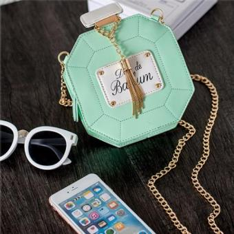 Skadi P-101 Women's Perfume Style Hard Shell Mini Shoulder Chain Fashion Bag Cellphone Bag Best Gift Wedding Party(GREEN)