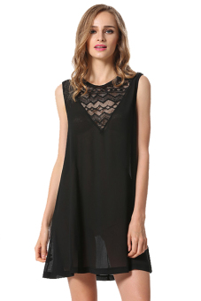 Sleeveless Chiffon Dress (Black)