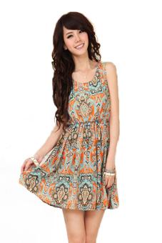 Sleeveless Elastic Waist Mini Dress (Orange)
