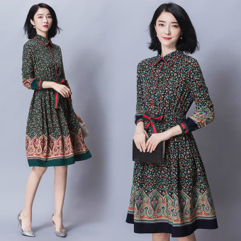 Slim fit long section floral length sleeve dress (Black)