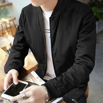 Slim fit Spring Autumn thin coat New style casual jacket (Memory fabric black)