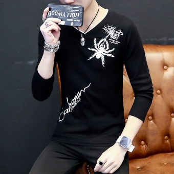 Slim fit V-neck youth Short sleeve t-shirt T-shirt shirt (Spider long-sleeved black) (Spider long-sleeved black)