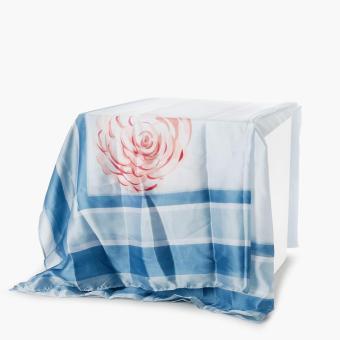 SM Accessories Ladies Silk Floral Shawl (Light Blue)