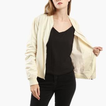 SM Woman Ruched Bomber Jacket (Beige) - 2
