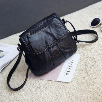 Small Square versatile soft leather washed women's bag New style women's bag (Black thick)