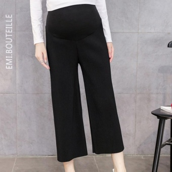 Small Wow Maternity Daily Loose Solid Color Standare Wide Leg Pants for Autumn Black - intl