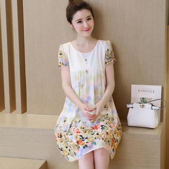 Small Wow Maternity Daily Round Print chiffon Loose Above Knee Dress Yellow - intl