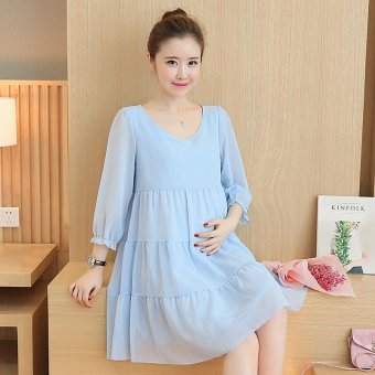 Small Wow Maternity Daily Round Solid Color chiffon Above Knee Dress Blue - intl