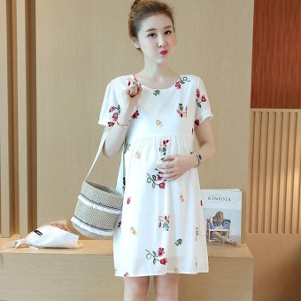 Small Wow Maternity Elegant O-neck Print Cotton Loose Above Knee Dress White - intl