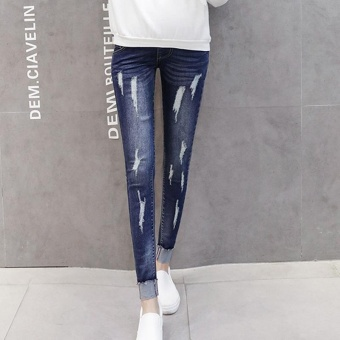 Small Wow Maternity Fashion Loose Hole Standare Denim Long Pants for Autumn Blue - intl