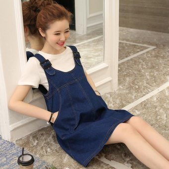 Small Wow Maternity Fashion Round Solid Color Cotton Above Knee two-piece Dress Blue - intl - 3