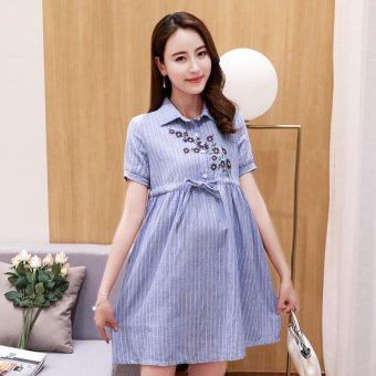 Small Wow Maternity Fashion Turn-down Collar Print Cotton Above Knee Dress Blue - intl