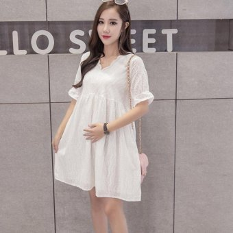 Small Wow Maternity Fashion V-neck Solid Color Cotton Loose Above Knee Dress White - intl