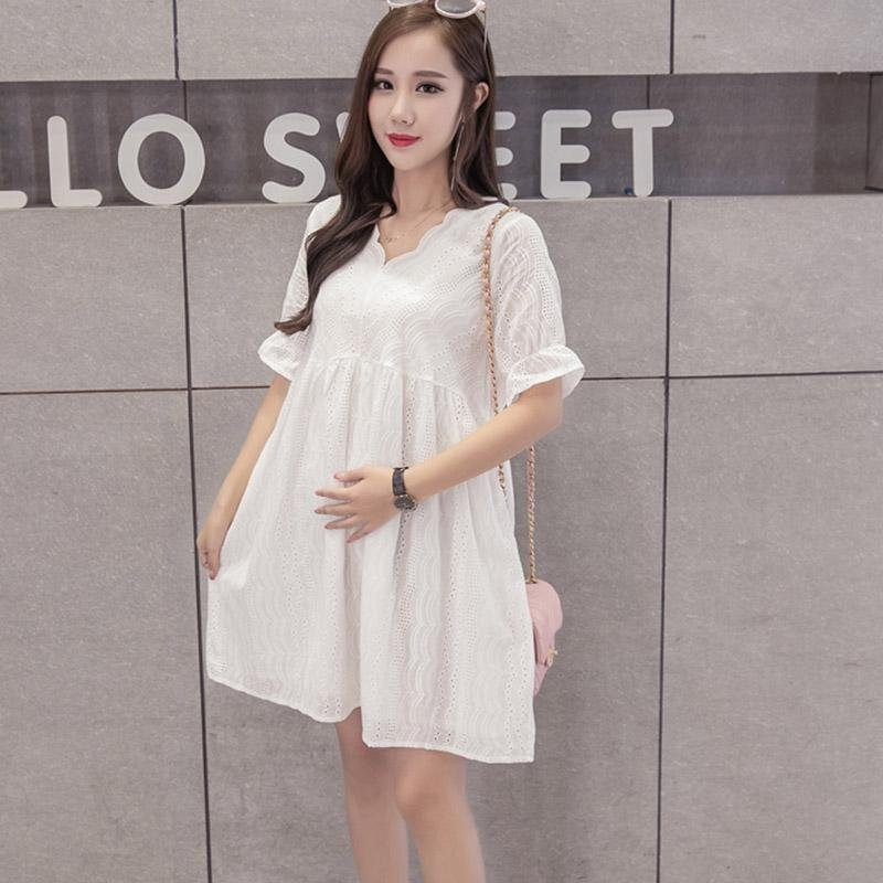 ... Small Wow Maternity Fashion V-neck Solid Color Cotton Loose Above Knee Dress White ...