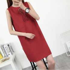 Small Wow Maternity Going Out Round Solid Color Cotton Loose Above Knee Dress