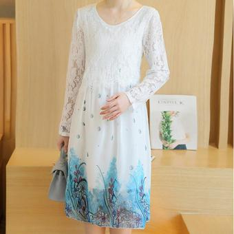 Small Wow Maternity Korean Round Print chiffon Loose Above Knee Dress White - intl - 3
