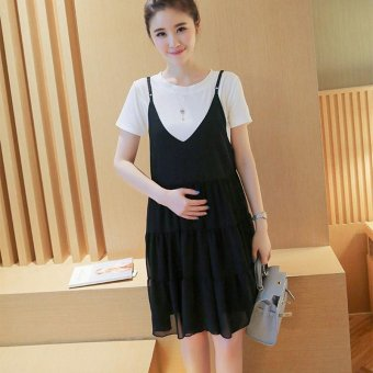 Small Wow Maternity Korean Round Solid Color chiffon Above Knee two-piece Dress Black - intl