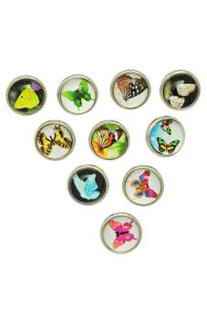 Snap Mini Buttons Fit DIY Snap Bracelets Butterfly Mixed 12mm 10Pcs