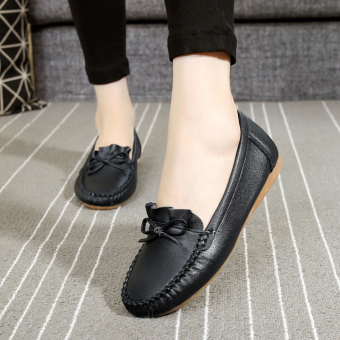 Soft bottom New style flat breathable nurse shoes mom shoes (918 black)