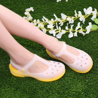 Solid color thick bottomed jelly sandals porous shoes (Malizhen-yellow)