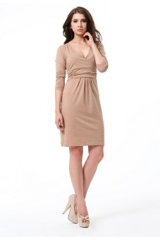Solid V-Neck Long Sleeve Waisted Medium Fashion Casual Dress Brown - picture 2