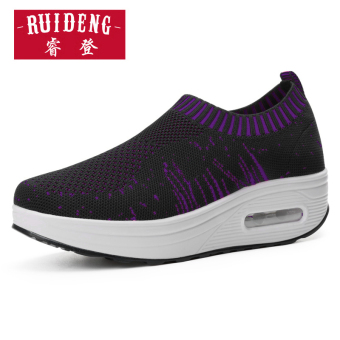 Sports 3D casual Spring and Autumn New style mesh platform shoes shook his shoes (7702 black purple)
