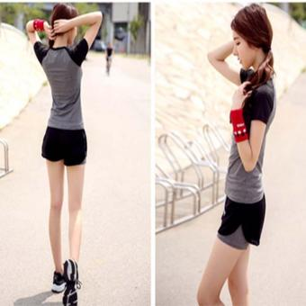 Sports fitness wear 2Pcs suit Women slim Quick dry Running T-shirtShort sleeved shirt Two in one shorts Yoga clothes set Grey wthblcak - intl - 3