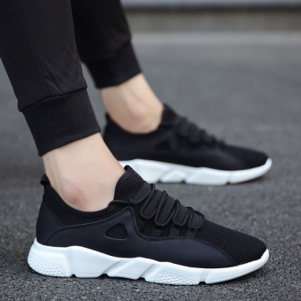 Sports Korean-style canvas running trendy shoes casual shoes (Black and white)