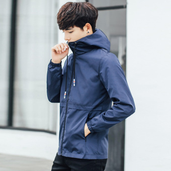 Sports Korean-style men hooded student solid Top autumn jacket (Gray)