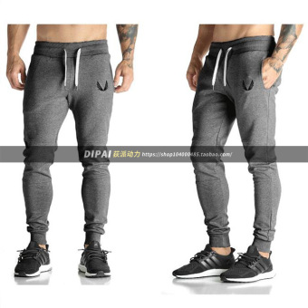 Sports Men's Fitness shut skinny casual sweatpants pants (Dark gray color)