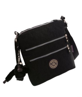 Sporty Waterproof Nylon Mini Shoulder Bag Cross-body Bag (Black)