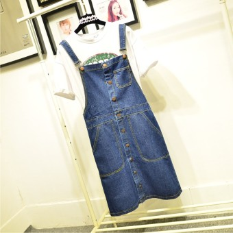 Spring and summer New style single breasted shoulder strap denim dress