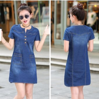 Spring and Summer Women's Republic of Korea Code Easy To Wear Thin Long Sleeved Short of  A-Line Skirt Thin Denim Dress - Dark Blue - intl - 2
