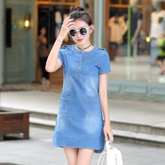 Spring and Summer Women's Republic of Korea Code Easy To Wear Thin Long Sleeved Short of A-Line Skirt Thin Denim Dress - Light Blue - intl