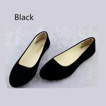 Spring Autumn Korean Fashion Pointed Women Flat Shoes Shallow Mouth Candy Color Shoes (Black) - intl