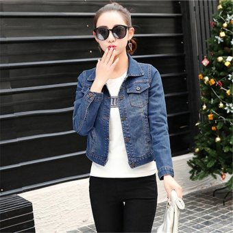 Spring Denim Jacket Women's Jeans Coat Slim Long Sleeved Suit Turn Down Collar Jacket Female Coat Women Basic Coat - intl
