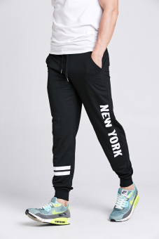 Stitch mens black New York joggers (Black)(Export) - 3