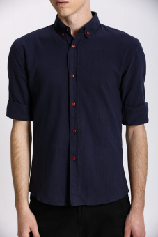 Stitch Men's Oxford Button down Shirt (Navy)(Export) - 2
