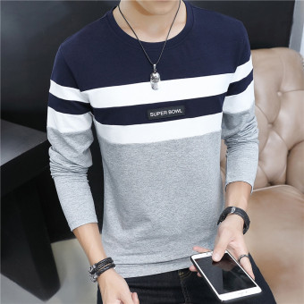 Stitching cotton striped Slim fit bottoming shirt T-shirt (The sapphire blue color)