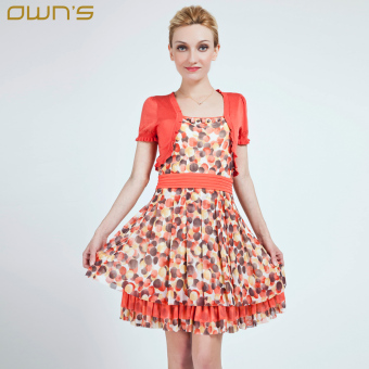 Stitching knit short-sleeved Slim fit dress