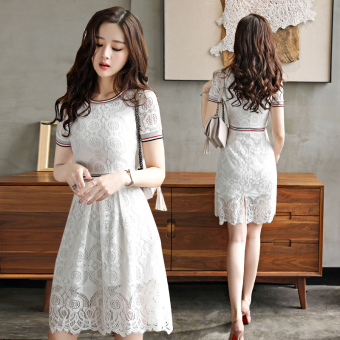 Stitching white round neck hollow dress a word skirt