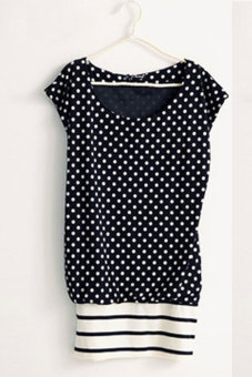 Stretch Cotton Dot Hem Stripe Mini Dress (Black)