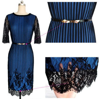 Striped Colorblock Women with elegant floral belt waist crochetlace pencil dress evening dress for work(Deep Blue) - 4