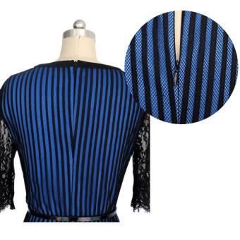 Striped Colorblock Women with elegant floral belt waist crochetlace pencil dress evening dress for work(Deep Blue) - 3